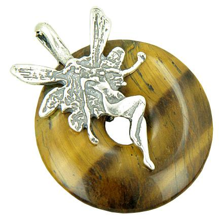 Fairy Angel Magic Protection Amulet Tiger Eye Silver Pendant