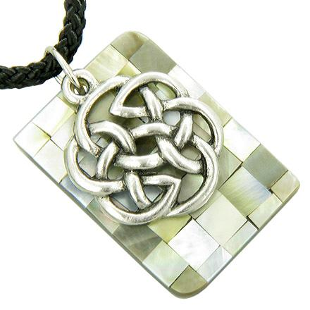 Amulet Protection Celtic Knot and Natural Shell Pendant Necklace
