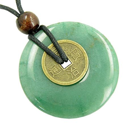 Large Lucky Coin Amulet Necklace in Aventurine Gemstone Donut