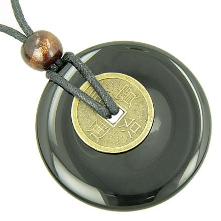 Large Lucky Coin Amulet Necklace in Black Onyx Gemstone Donut