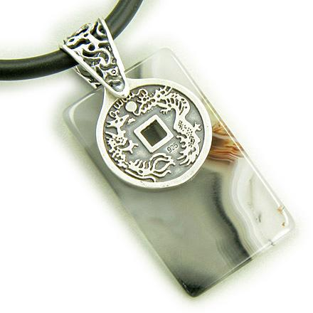 Lucky Coin Dragon 925 Silver Good Luck Agate Pendant Necklace