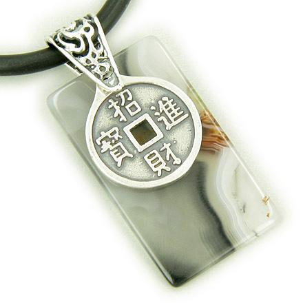 Lucky Coin and Dragon Silver Good Luck Agate Pendant Necklace