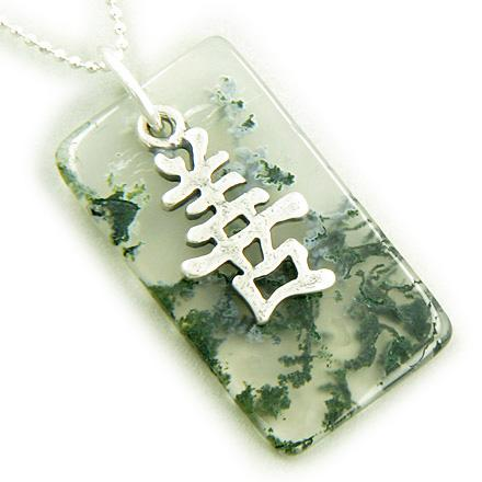 Good Luck And Happy Silver Green Moss Agate Pendant Necklace