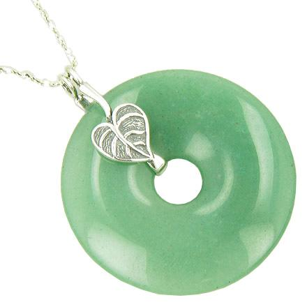 Lucky Leaf Money Amulet Aventurine 925 Silver Pendant Necklace