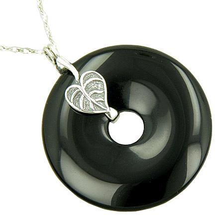 Lucky Leaf Spiritual Amulet Black Onyx Silver Pendant Necklace