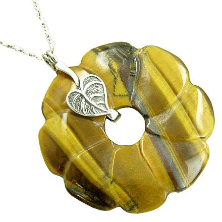 Lucky Leaf Flower Protection Amulet Tiger Eye Pendant Necklace