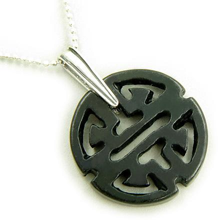 "Good Luck and Long Life Amulet 925 Silver Pendant 18"" Necklace"