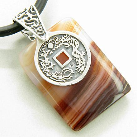 Lucky Coin Dragon Silver Good Luck Red Agate Pendant Necklace