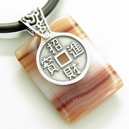 Lucky Coin and Dragon Silver Good Luck Red Agate Pendant Necklac