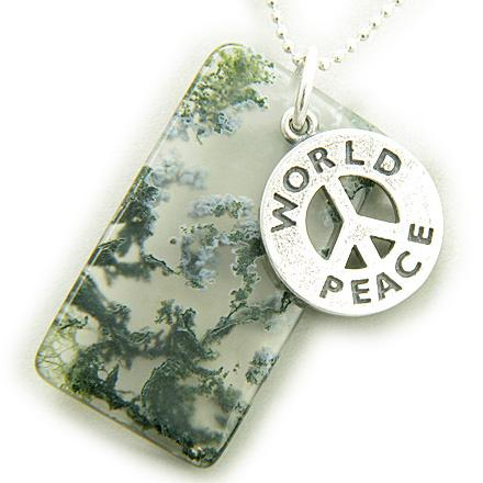 Amulet World Peace Silver Magic Moss Agate Pendant Necklace
