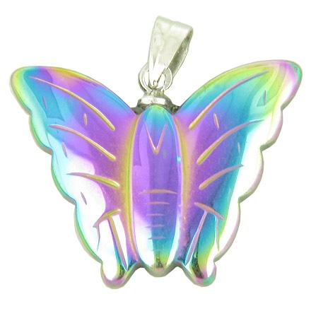 Lucky and Happy Butterfly Pendant in Rainbow Hematite Gemstone