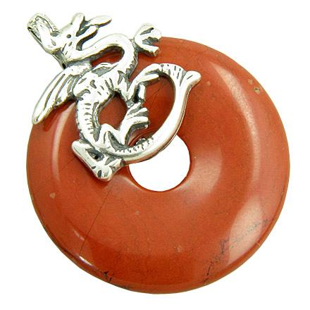 Dragon Believe Magic Amulet Red Jasper Gemstone Silver Pendant