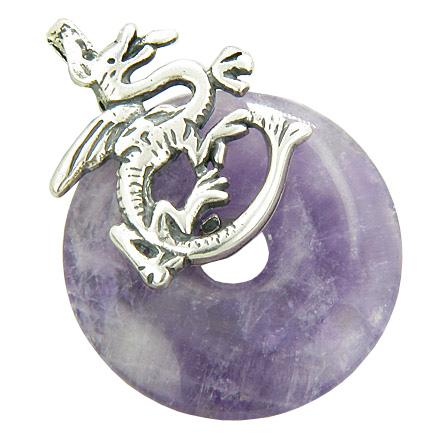 Dragon Travel Protection Magic Amulet Amethyst Gemstone Pendant