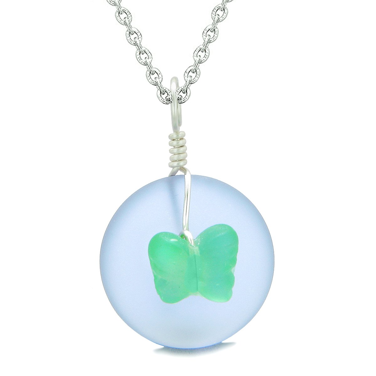 Lucky Butterfly Sea Glass Donut Positive Energy Amulet Purple Neon Green Pendant 22 Inch Necklace