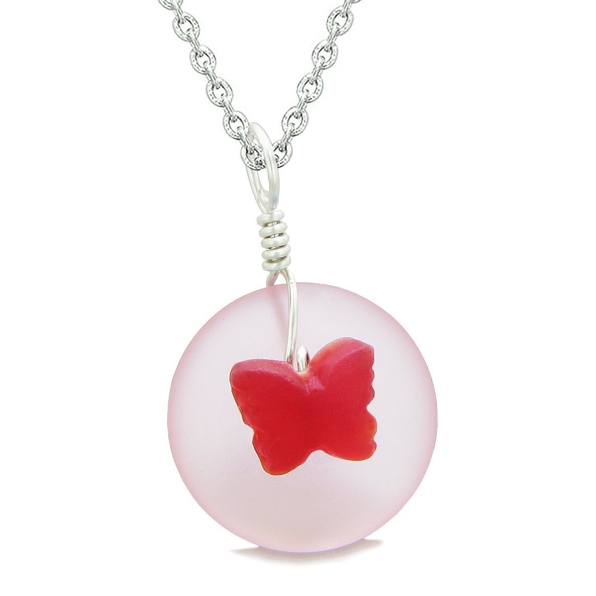Lucky Butterfly Sea Glass Donut Positive Energy Amulet Royal Red and Pink Pendant 22 Inch Necklace