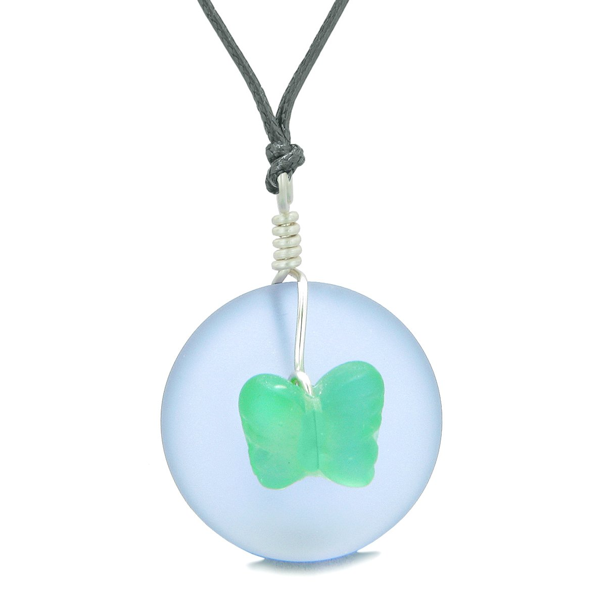 Lucky Butterfly Sea Glass Donut Positive Energy Amulet Purple Neon Green Pendant Adjustable Necklace