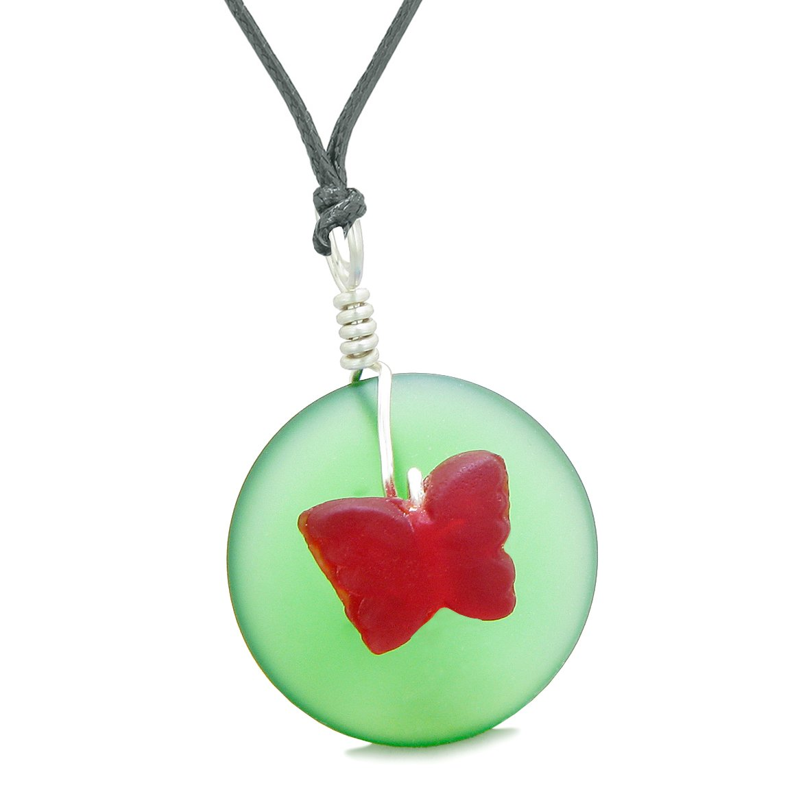 Lucky Butterfly Sea Glass Donut Positive Energy Amulet Forest Green Red Pendant Adjustable Necklace