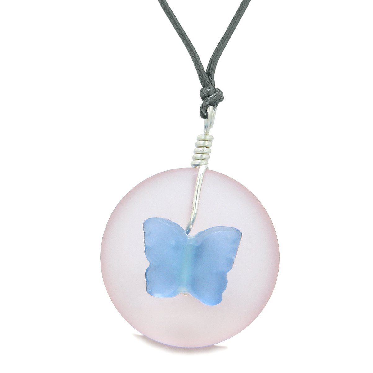 Lucky Butterfly Sea Glass Donut Positive Energy Amulet Cloud Blue Pink Pendant Adjustable Necklace