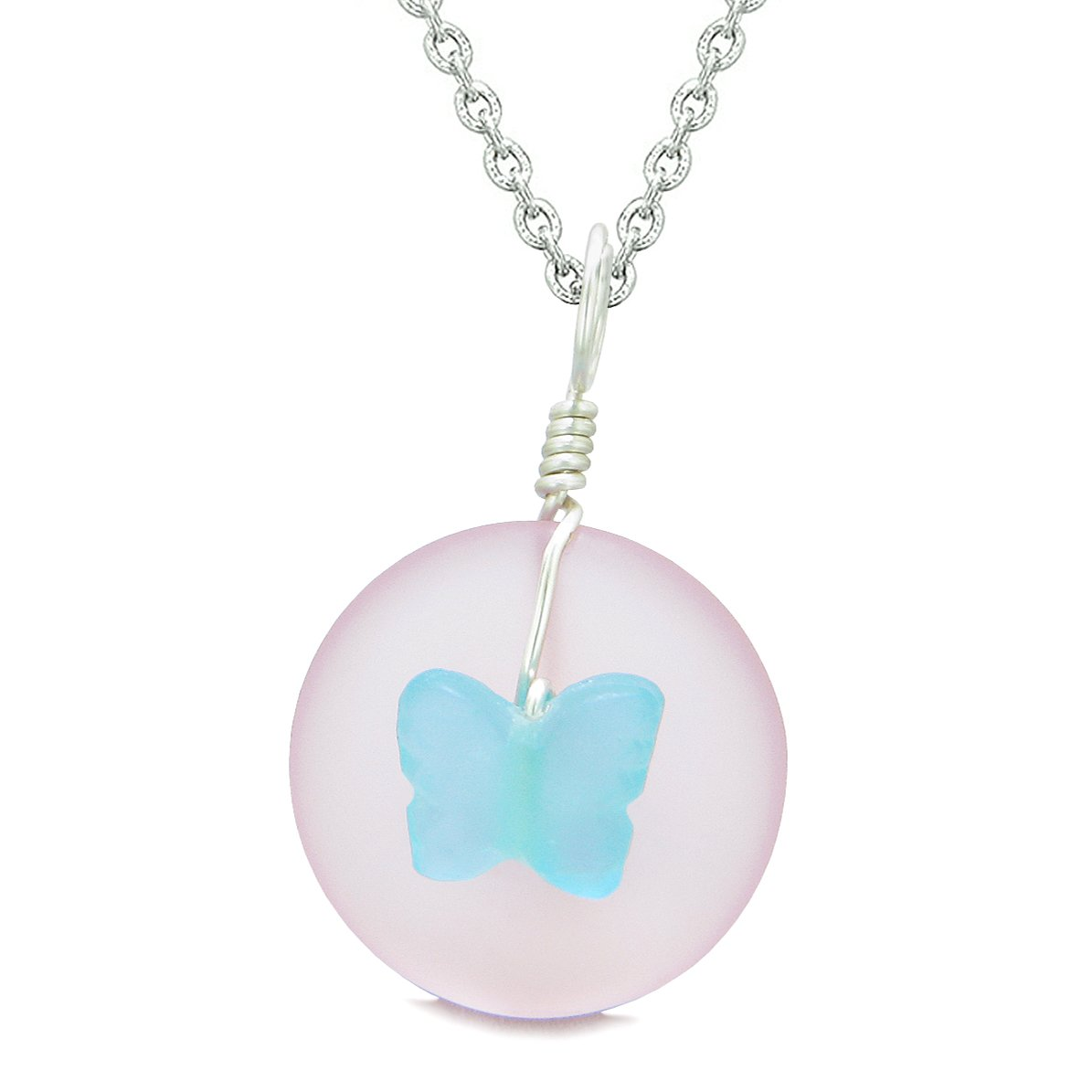 Lucky Butterfly Sea Glass Donut Positive Energy Amulet Sky Blue and Pink Pendant 18 Inch Necklace