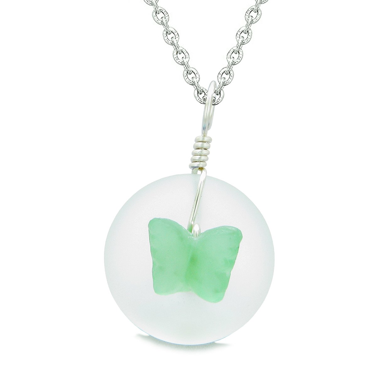 Lucky Butterfly Sea Glass Donut Positive Energy Amulet White and Neon Green Pendant 18 Inch Necklace