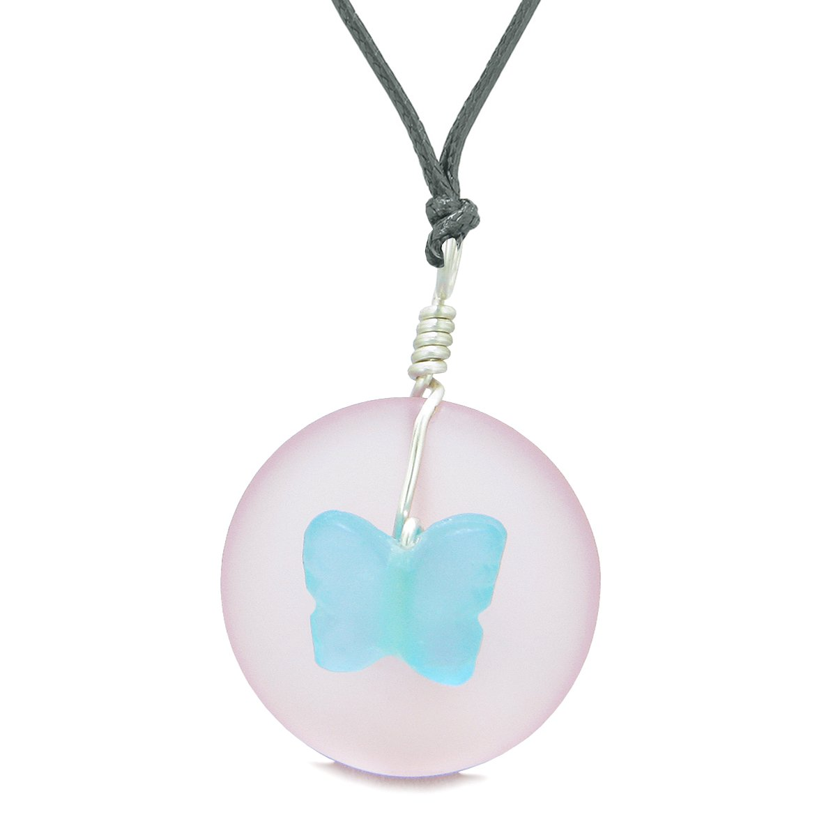 Lucky Butterfly Sea Glass Donut Positive Energy Amulet Sky Blue and Pink Pendant Adjustable Necklace