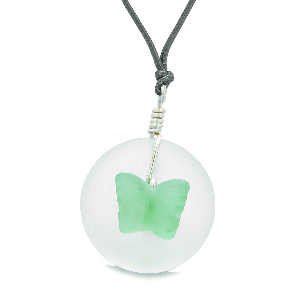 Lucky Butterfly Sea Glass Donut Positive Energy Amulet White Neon Green Pendant Adjustable Necklace