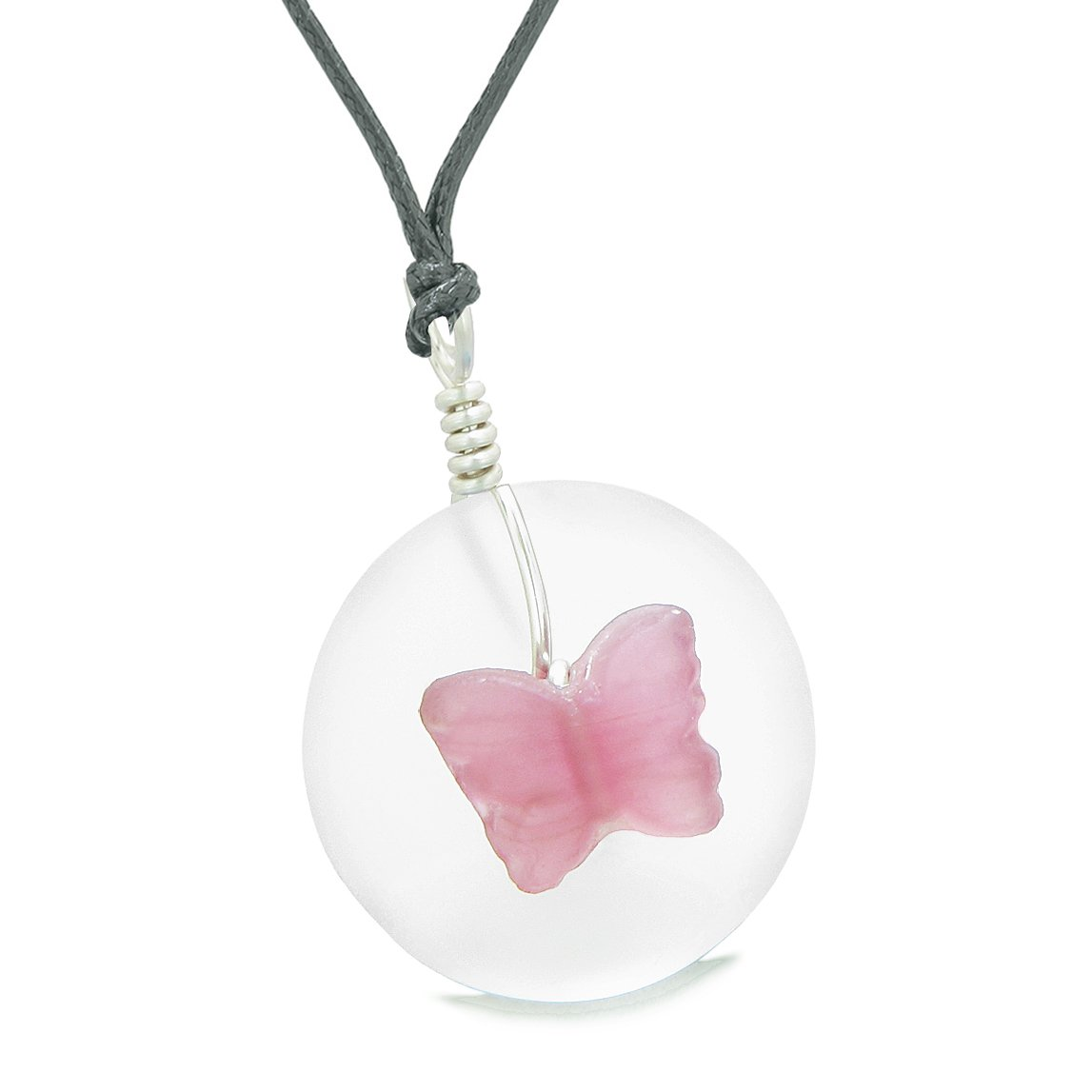 Lucky Butterfly Sea Glass Donut Positive Energy Amulet White and Pink Pendant Adjustable Necklace