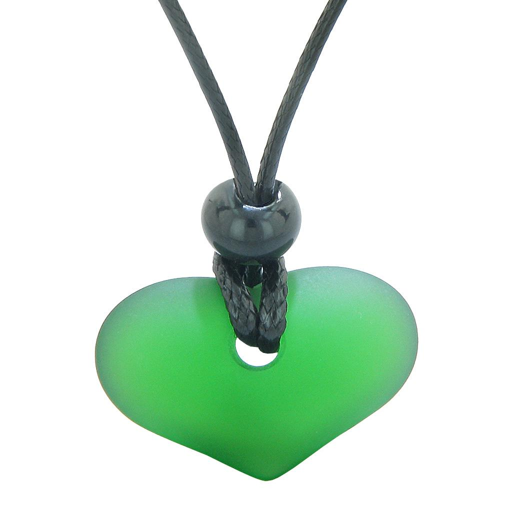 Unique Puffy Heart Frosted Sea Glass Forest Green Positive and Life Powers Amulet Adjustable Necklace