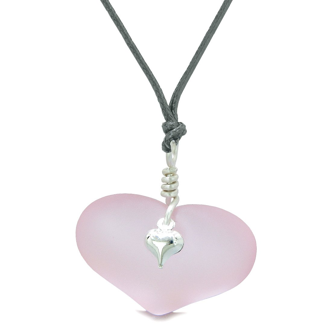 Unique Puffy Heart Frosted Sea Glass Cute Pink Life and Positive Powers Amulet Adjustable Necklace