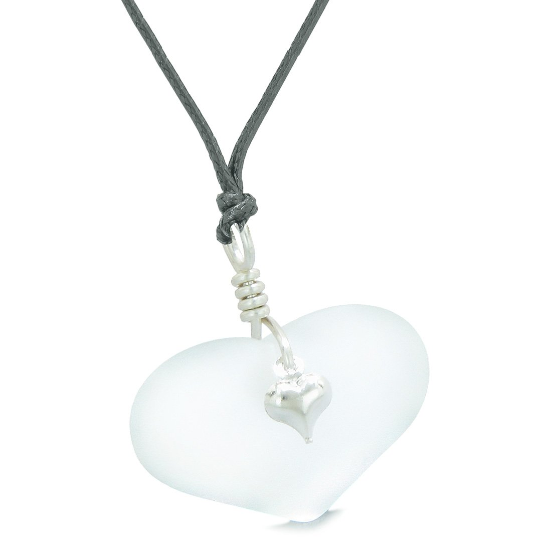 Unique Puffy Heart Frosted Sea Glass Snow White Life and Positive Powers Amulet Adjustable Necklace