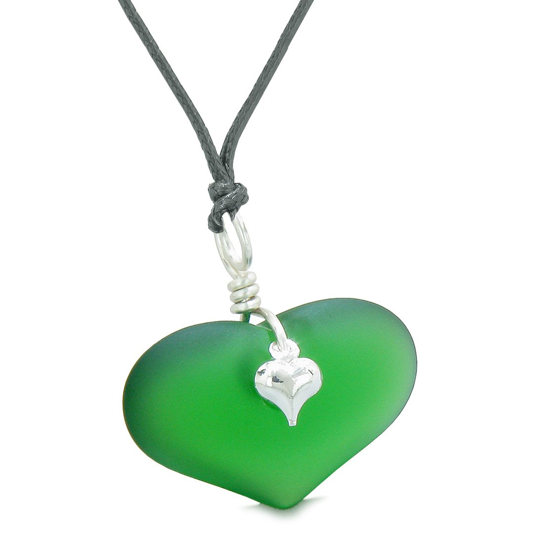 Unique Puffy Heart Frosted Sea Glass Forest Green Life and Positive Powers Amulet Adjustable Necklace