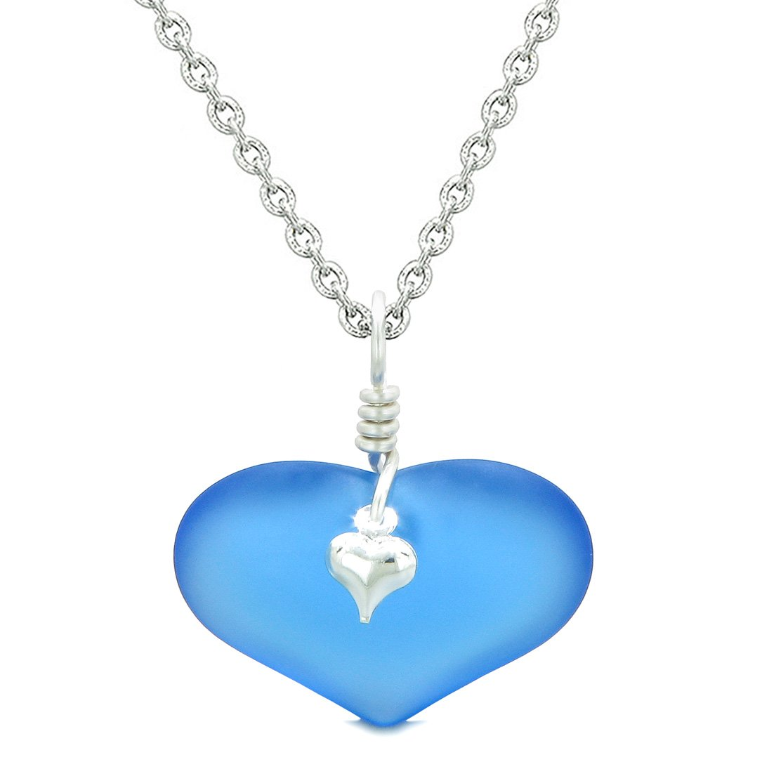 Unique Puffy Heart Frosted Sea Glass Cloud Blue Life and Positive Powers Amulet 22 Inch Necklace