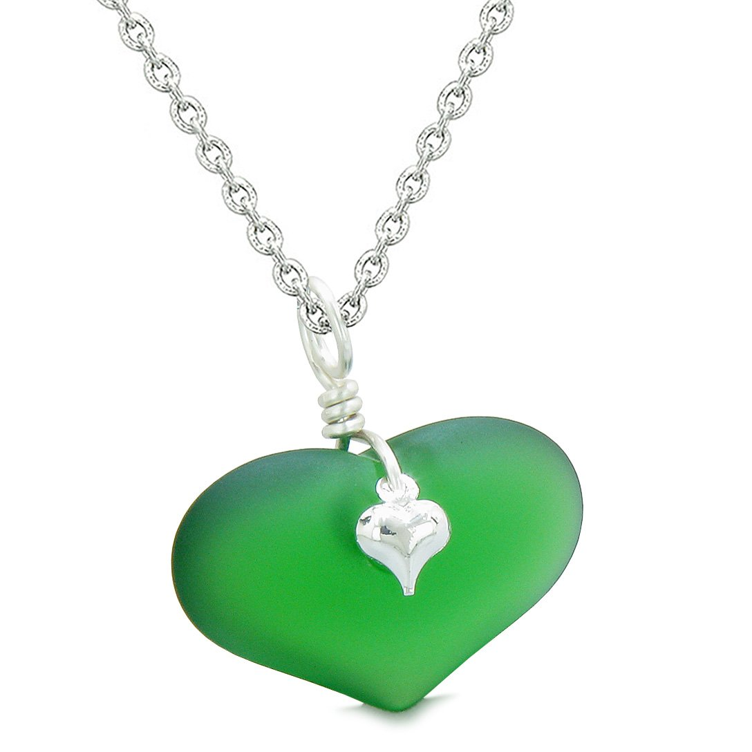 Unique Puffy Heart Frosted Sea Glass Forest Green Life and Positive Powers Amulet 22 Inch Necklace