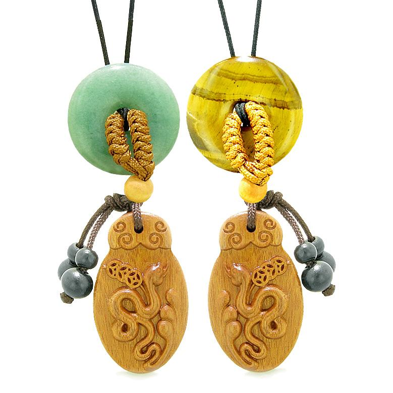 Magic Snake Car Charm Home Decor Green Quartz Tiger Eye Donuts Love Couples or Best Friends Amulets