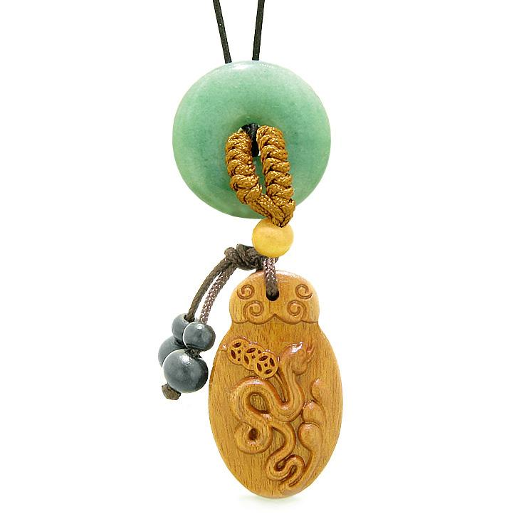 Magic Snake Fortune Car Charm or Home Decor Green Quartz Lucky Coin Donut Protection Powers Amulet