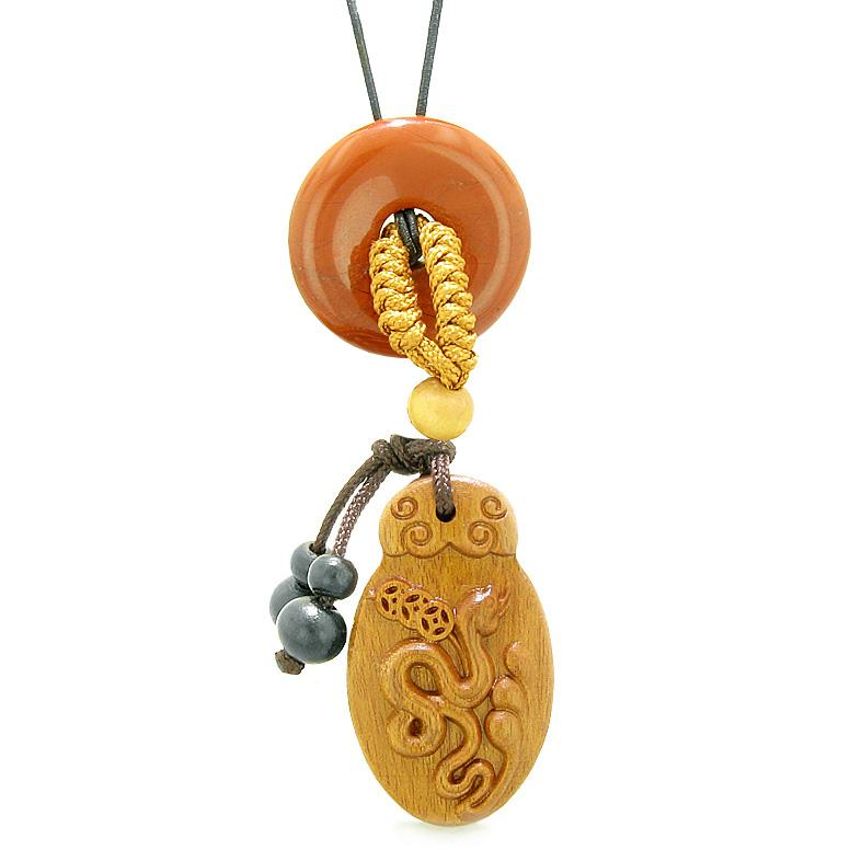 Magic Snake Fortune Car Charm or Home Decor Red Jasper Lucky Coin Donut Protection Powers Amulet