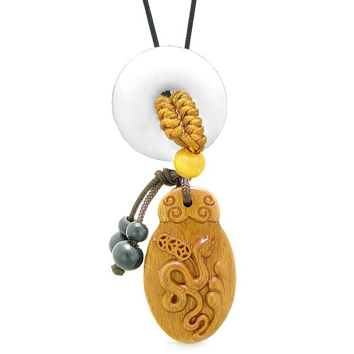 Magic Snake Fortune Car Charm or Home Decor White Quartz Lucky Coin Donut Protection Powers Amulet