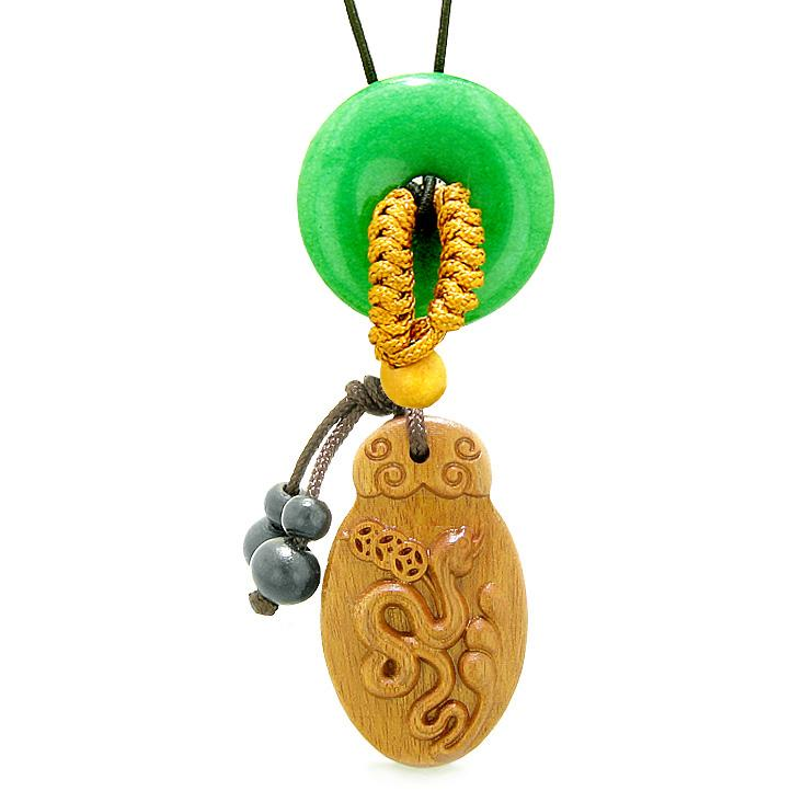 Magic Snake Fortune Car Charm Home Decor Green Quartz Lucky Coin Donut Protection Powers Amulet