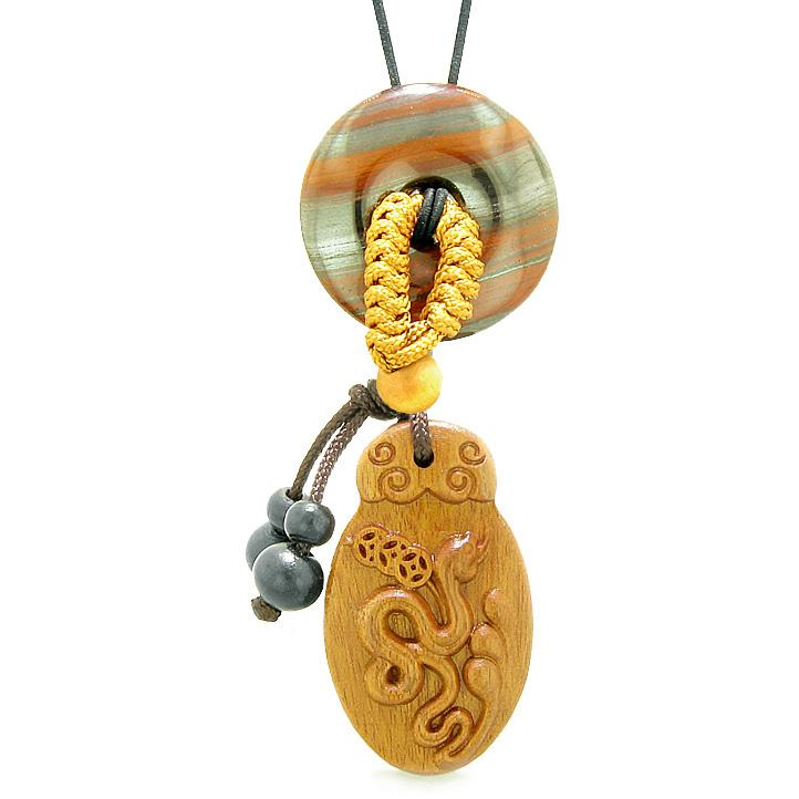 Magic Snake Fortune Car Charm Home Decor Dragon Eye Iron Lucky Coin Donut Protection Power Amulet