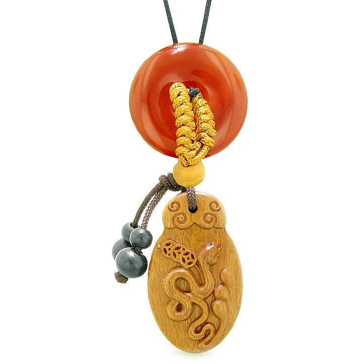 Magic Snake Fortune Car Charm or Home Decor Carnelian Lucky Coin Donut Protection Powers Amulet