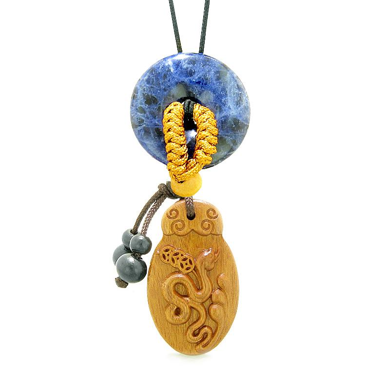 Magic Snake Fortune Car Charm or Home Decor Sodalite Lucky Coin Donut Protection Powers Amulet