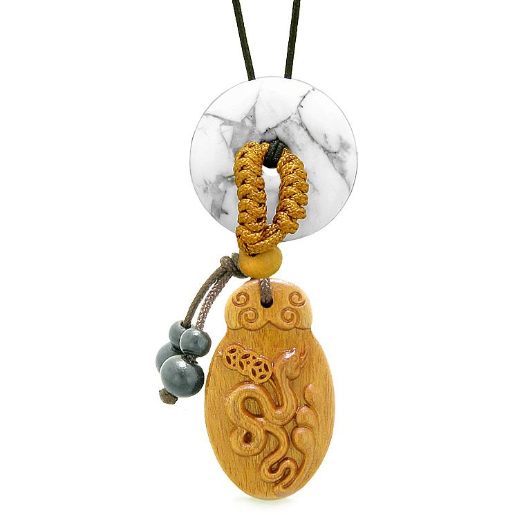 Magic Snake Fortune Car Charm or Home Decor White Howlite Lucky Coin Donut Protection Powers Amulet