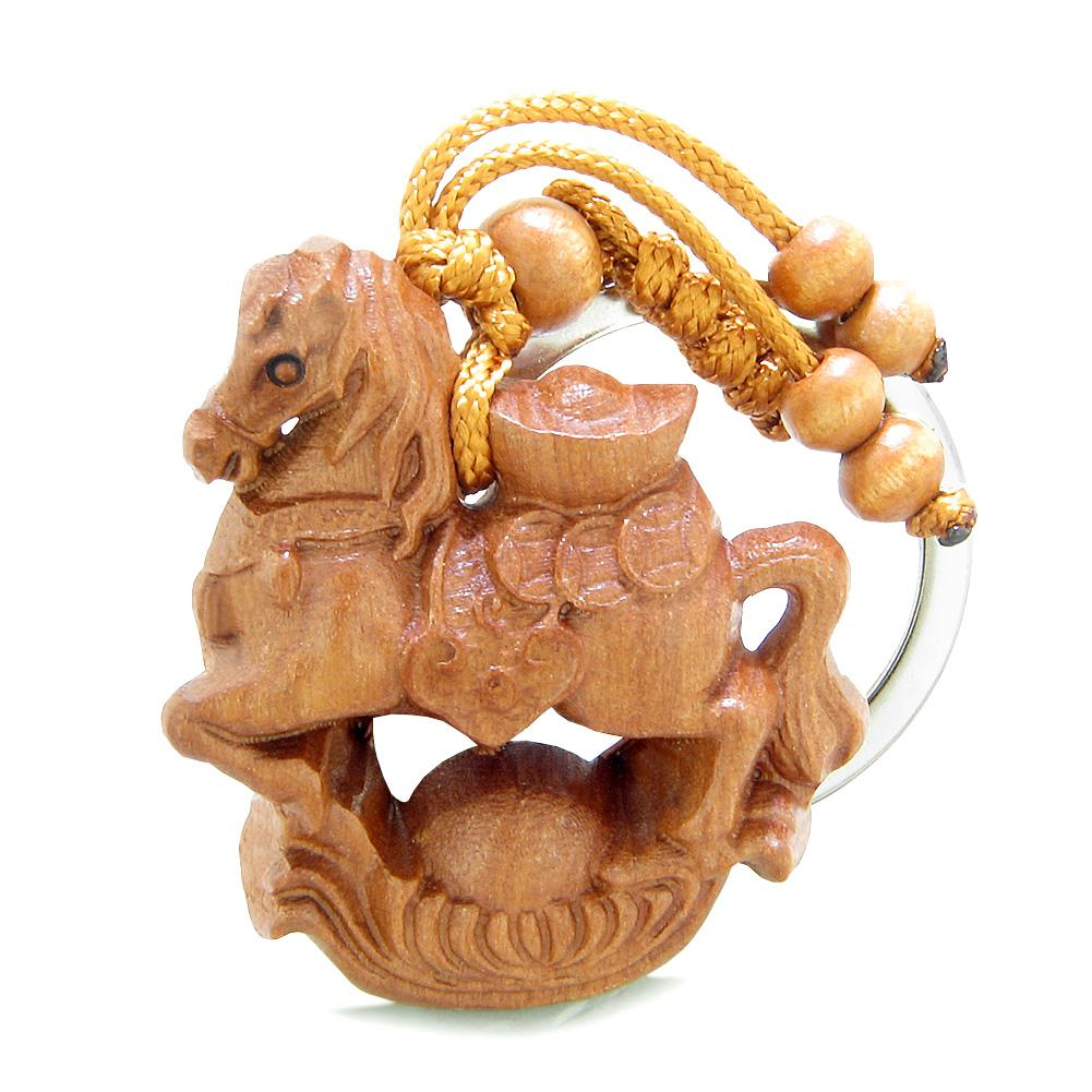 Amulet Fortune Horse Caring Lucky Wulu and Magic Coins Charms Feng Shui Symbols Keychain Blessing