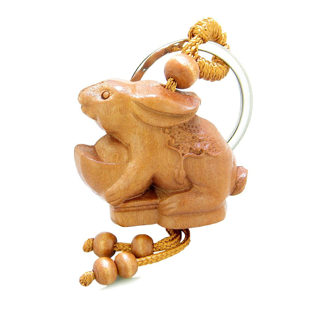 Amulet Lucky Rabbit Holding Magic Wulu Good Luck Charms Feng Shui Symbols Keychain Blessing