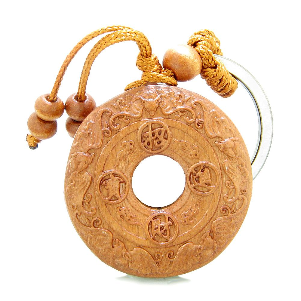 Amulet Lucky Double Sided Coin Donut with Magic Bat Charms Feng Shui Symbols Keychain Blessing