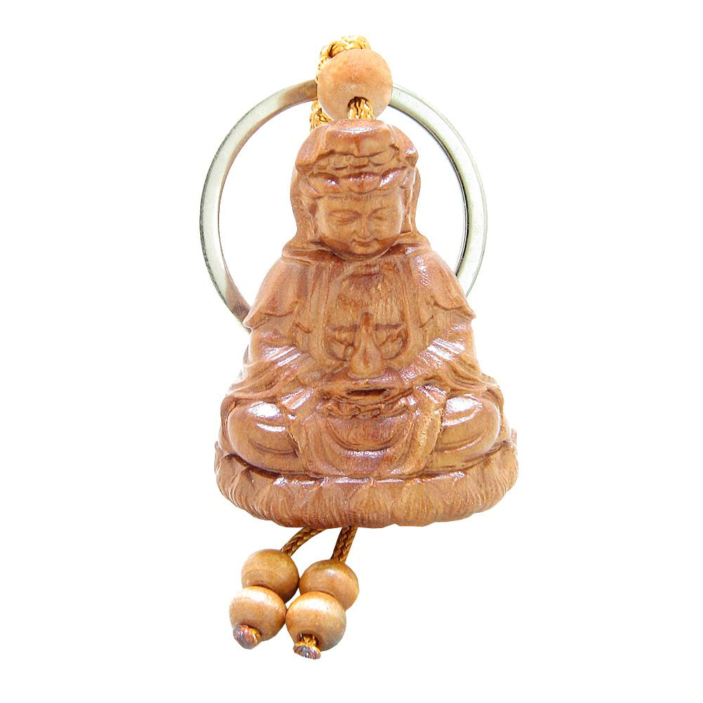 Amulet Praying Kwan Yin Quan Sitting Over Lotus Lucky Charm Feng Shui Symbols Keychain Blessing