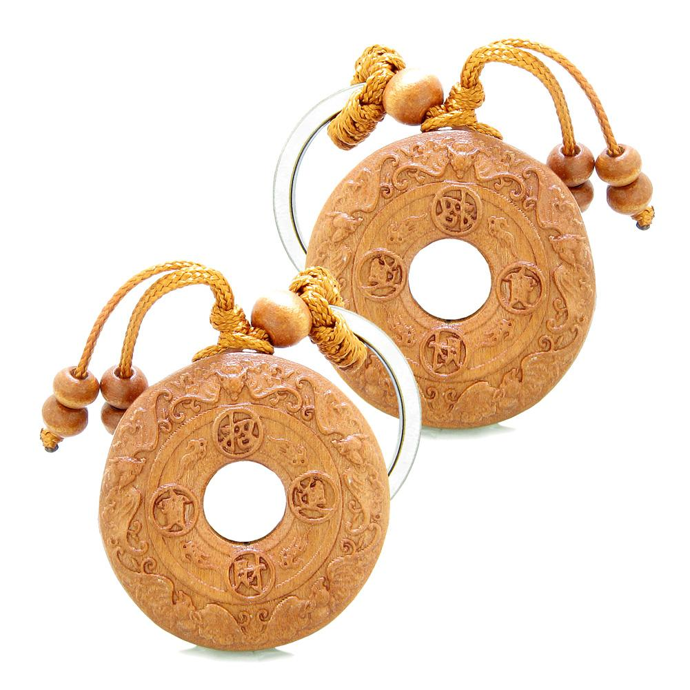 Amulet Lucky Double Sided Coin Donut with Magic Bat Charms Feng Shui Symbols Keychain Set Blessings