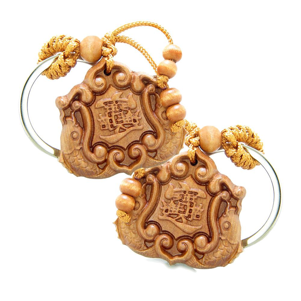 Amulet Double Lucky Fortune Fish Magic Plaque Charms Feng Shui Symbols Keychain Set Blessings