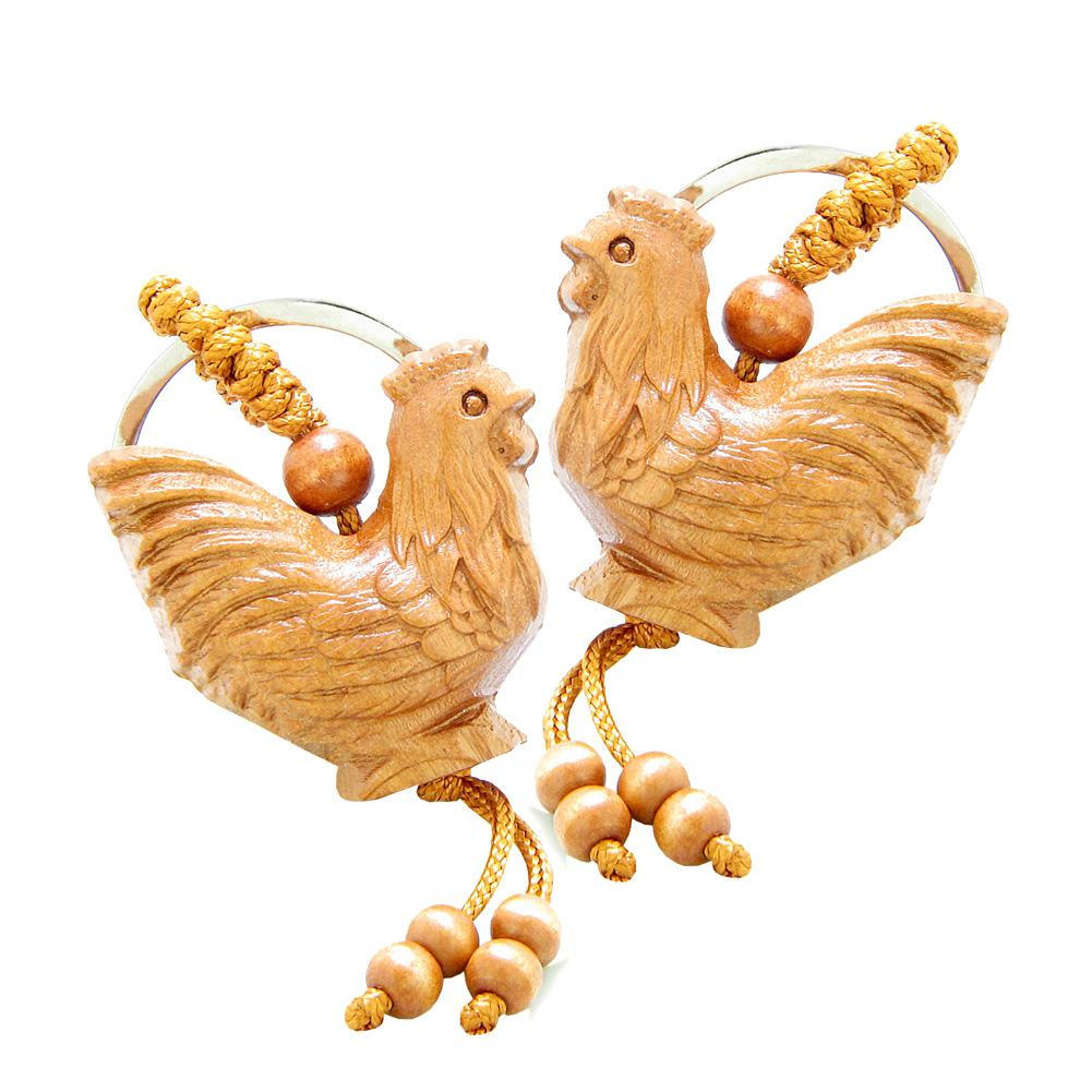 Amulet Fortune and Prosperity Rooster Good Luck Charms Feng Shui Symbols Keychain Set Blessings