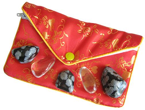 Protection from Evil Eye Snowflake Obsidian and Crystal Quartz Pouch